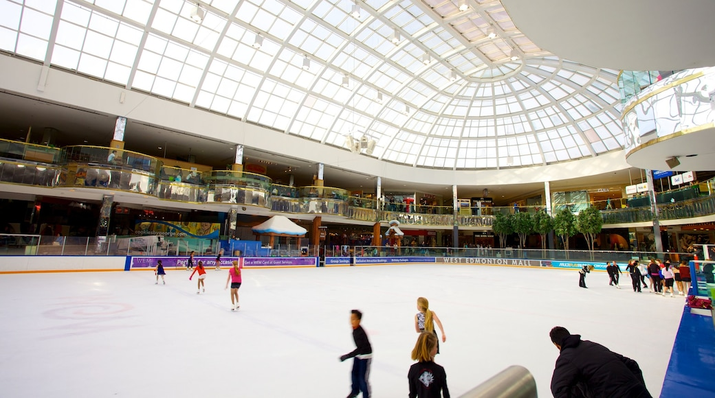 West Edmonton Mall which includes modern architecture, ice skating and interior views