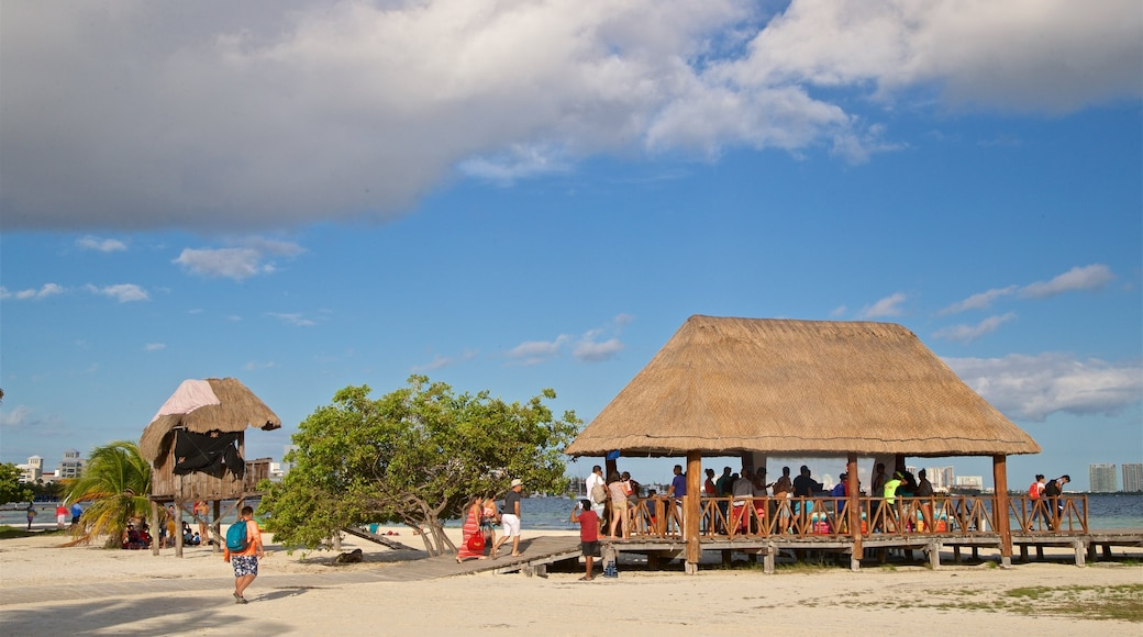 Isla Mujeres which includes general coastal views and a beach as well as a small group of people