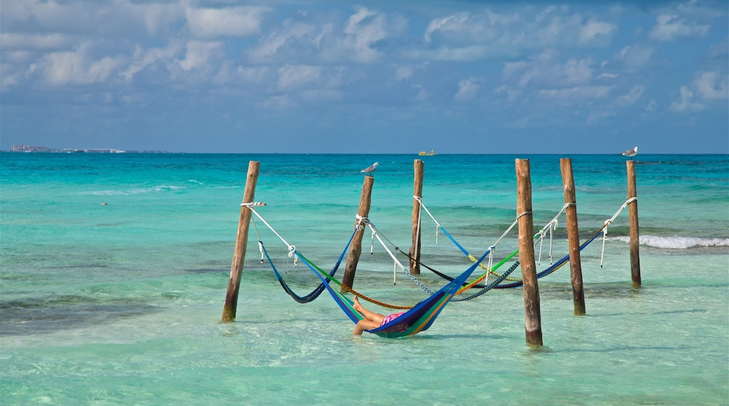 Cancun which includes tropical scenes and general coastal views as well as an individual female