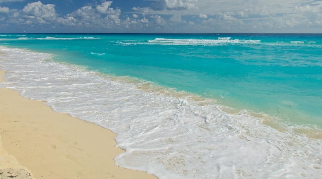 Playa Delfines featuring a sandy beach and general coastal views