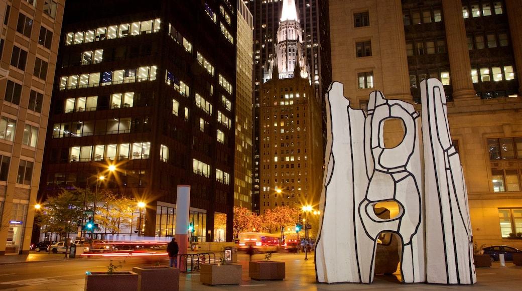 ย่านดาวน์ทาวน์ของชิคาโก แสดง ศิลปะกลางแจ้ง, วิวกลางคืน และ เมือง