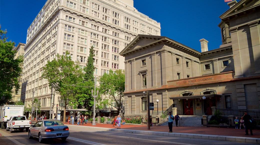 Pioneer Courthouse Square featuring a city and heritage architecture