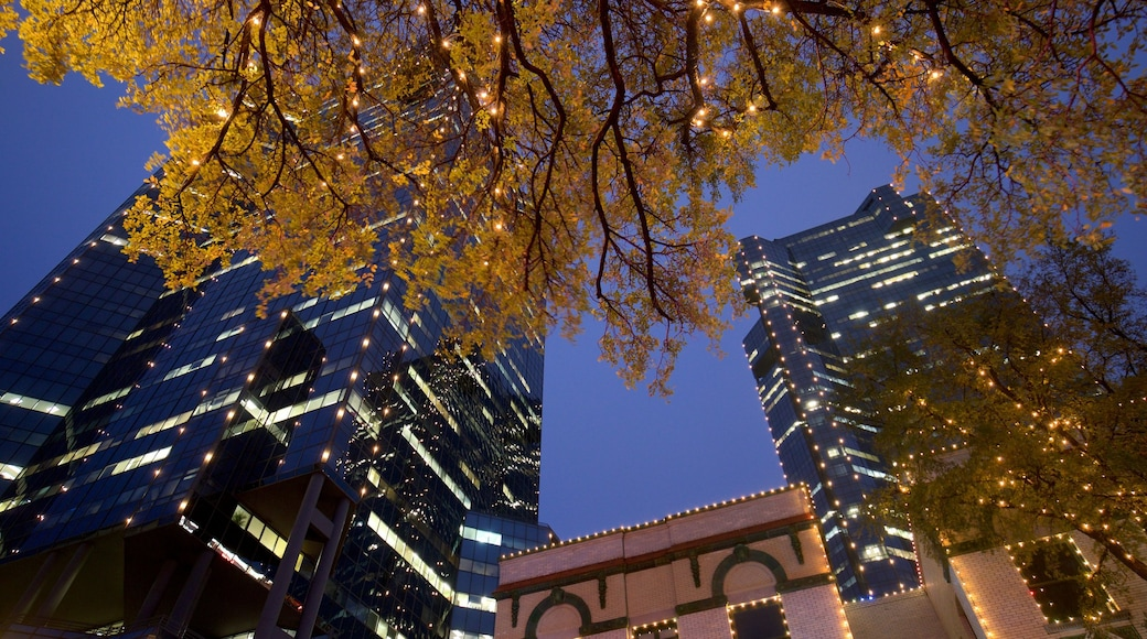 Fort Worth showing night scenes, a high rise building and a city