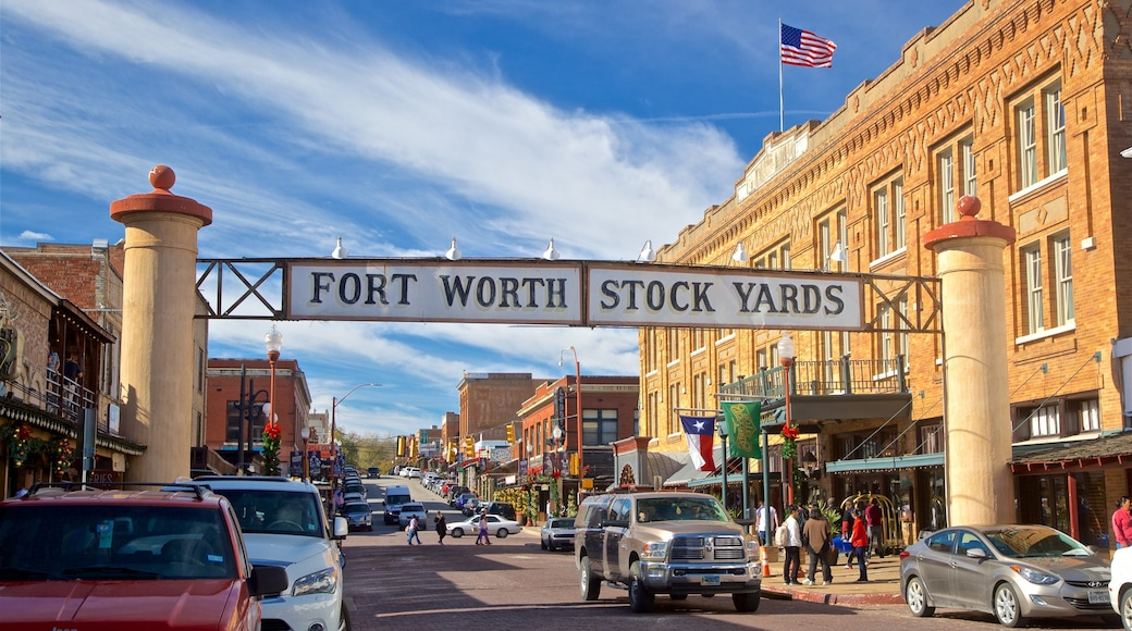 Fort Worth Stockyards showing a small town or village and signage