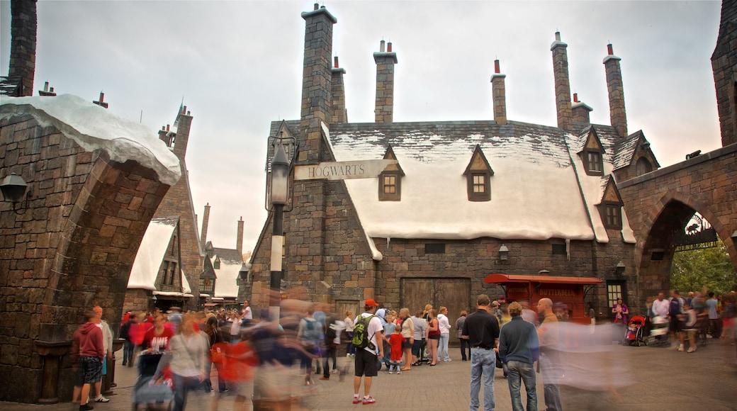 Parque temático The Wizarding World of Harry Potter™ que incluye atracciones y también un grupo pequeño de personas