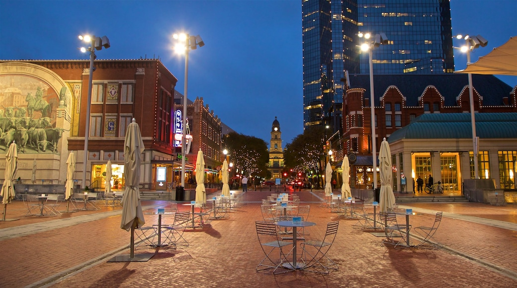 Sundance Square featuring night scenes and a city