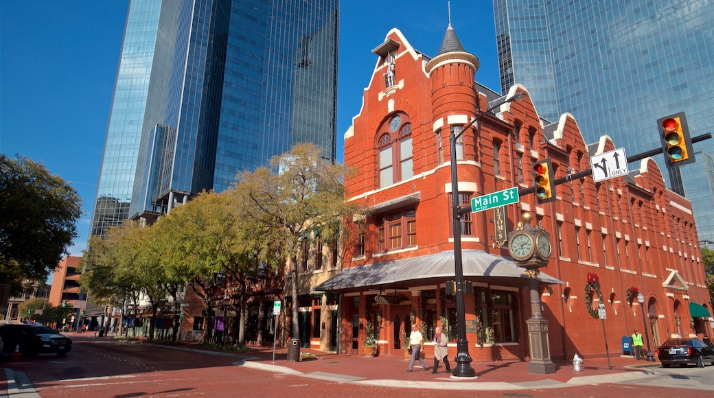 Sundance Square showing a city and heritage elements