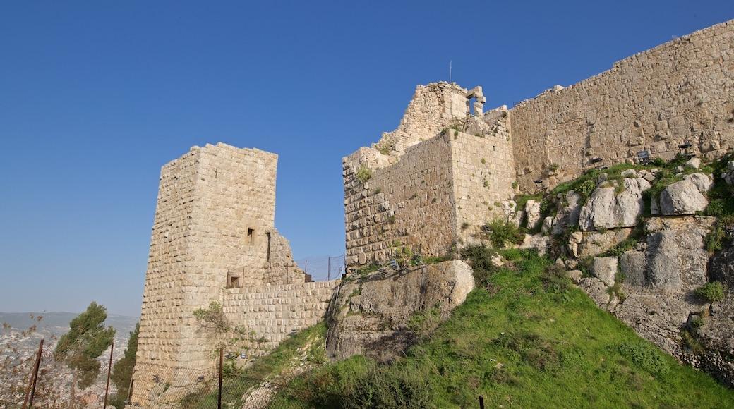 Ajlouns slott som inkluderar en ruin och historiska element