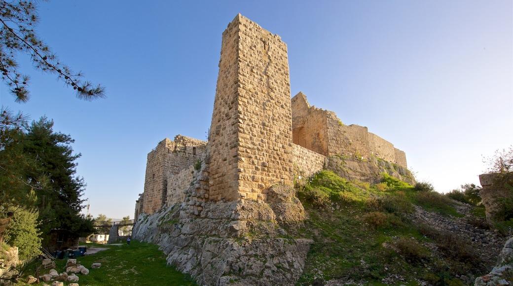 Ajlouns slott presenterar ruiner och historiska element