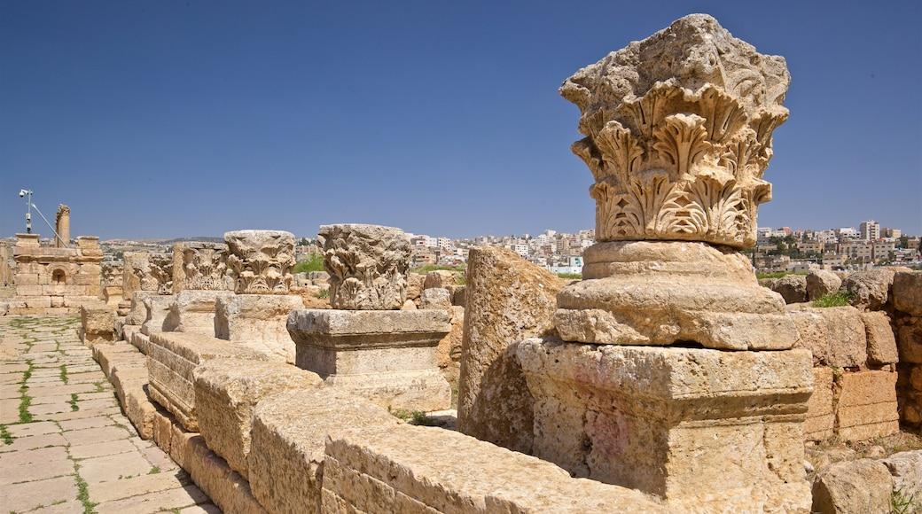 Jerashs arkeologiska museum presenterar historiska element och ruiner