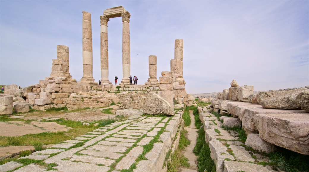 Temple of Hercules which includes a ruin and heritage elements as well as a small group of people
