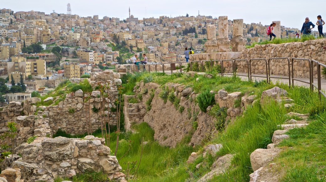 Amman Citadel showing a city and landscape views as well as a small group of people