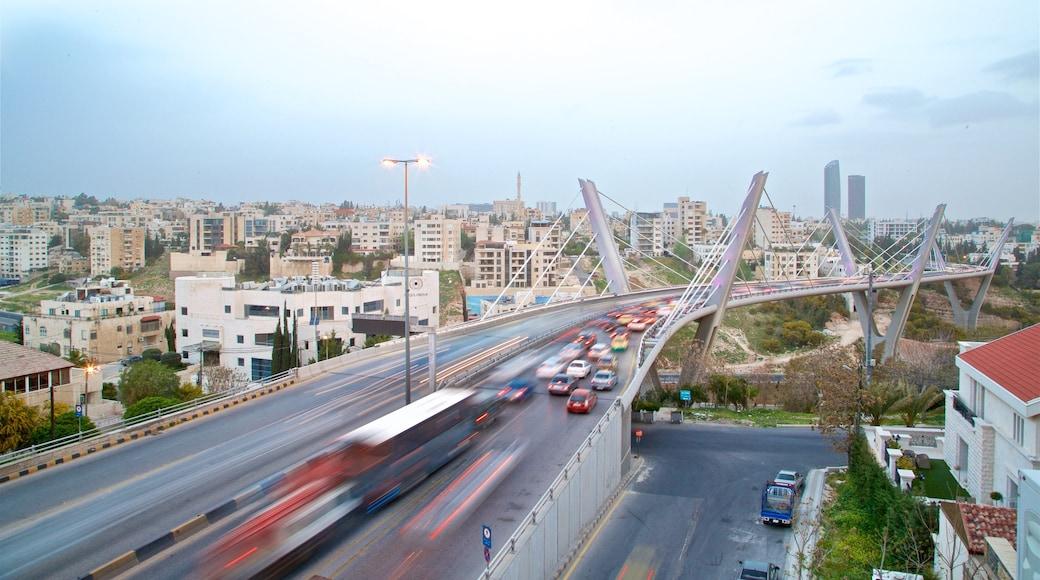 Abdoun Bridge showing landscape views, a city and a bridge
