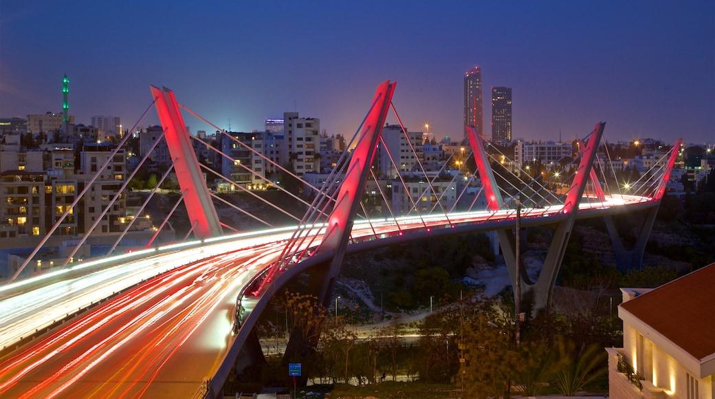 Abdoun Bridge which includes landscape views, a bridge and night scenes