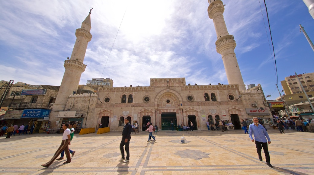 King Hussein Mosque featuring a square or plaza, street scenes and heritage architecture
