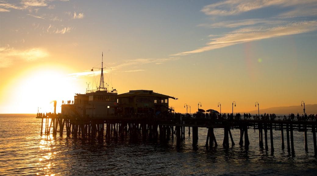 Santa Monica Pier showing general coastal views and a sunset