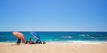 Playa Las Viudas featuring general coastal views and a beach as well as a small group of people