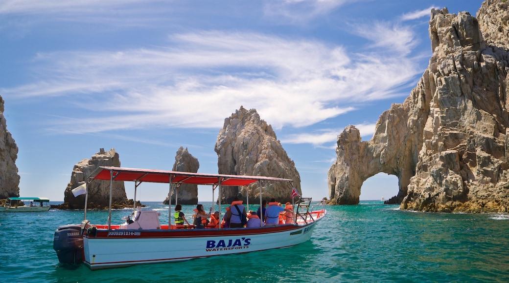 El Arco showing general coastal views, boating and rugged coastline