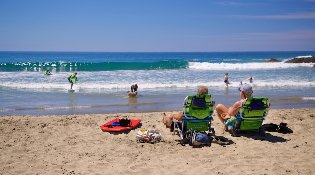 Los Cerritos Beach which includes a sandy beach and general coastal views as well as a couple
