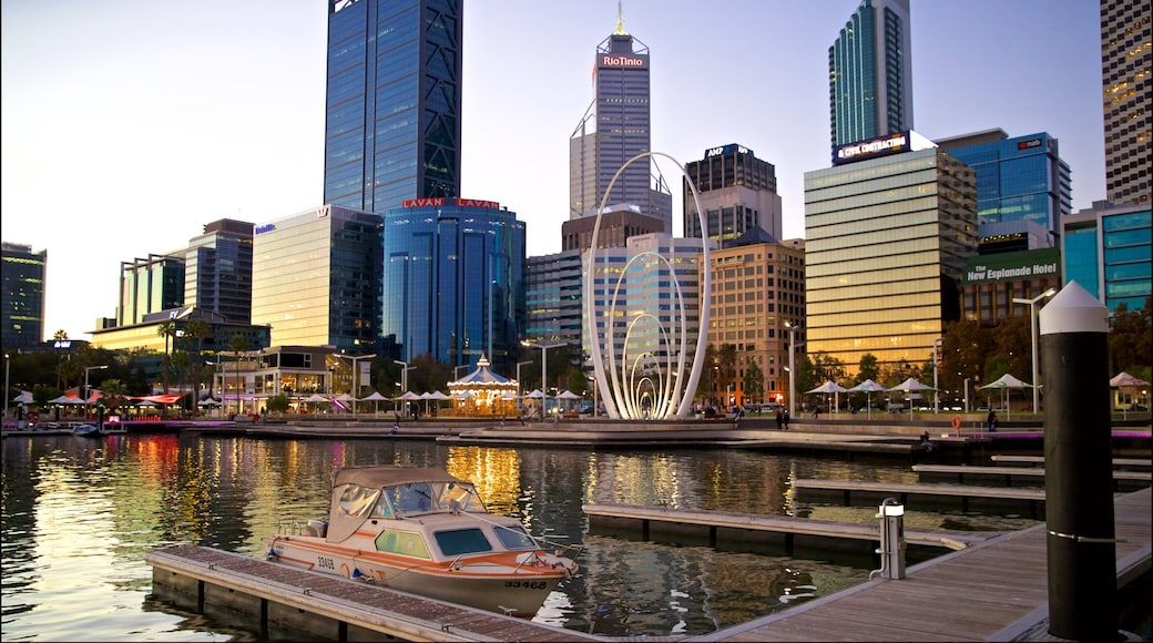 Elizabeth Quay featuring a city, a bay or harbor and a sunset