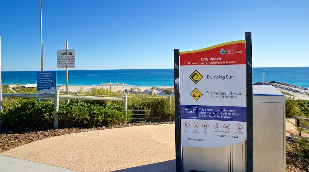 City Beach which includes signage and general coastal views