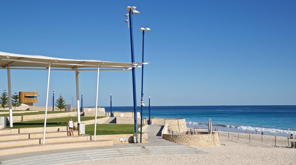 Scarborough Beach featuring a garden, general coastal views and a sandy beach