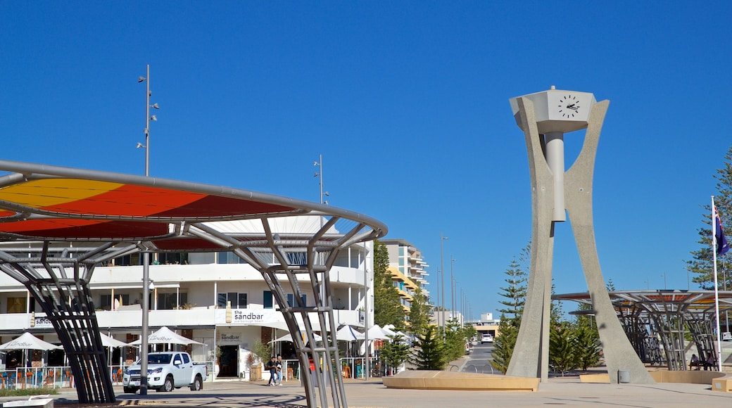 Scarborough Beach featuring a square or plaza and outdoor art