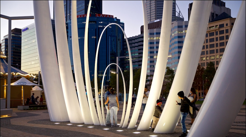 Elizabeth Quay featuring night scenes and outdoor art as well as a couple