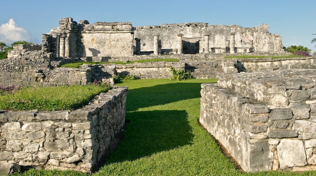 Ruinas mayas de Tulum que incluye una ruina