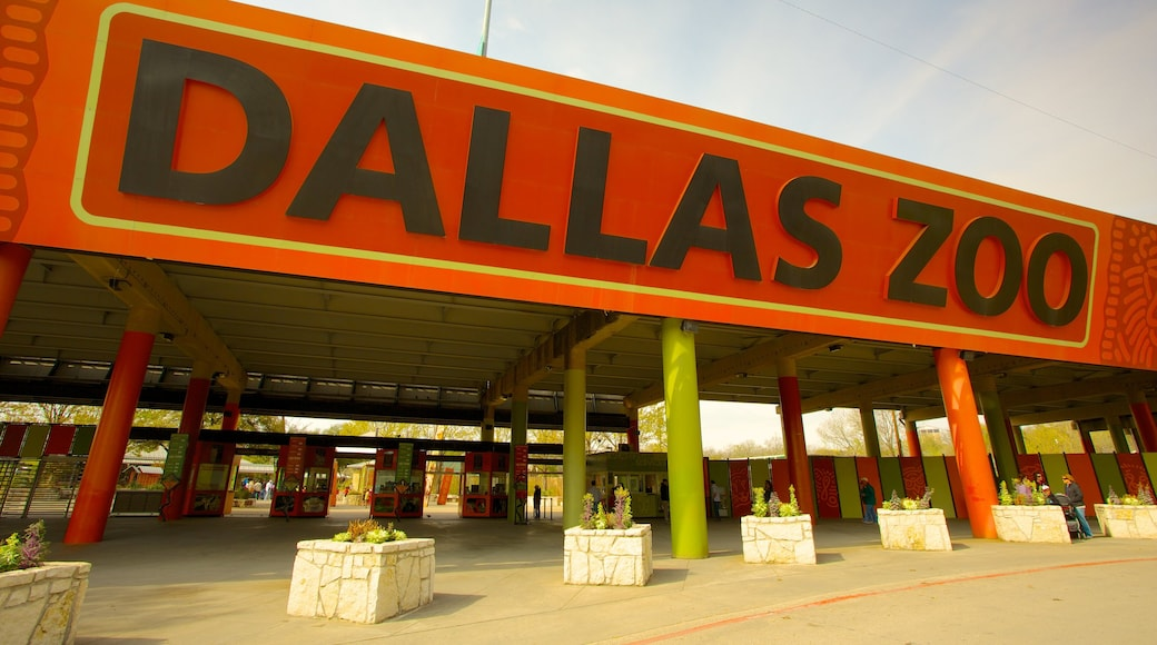 Dallas Zoo featuring zoo animals and signage