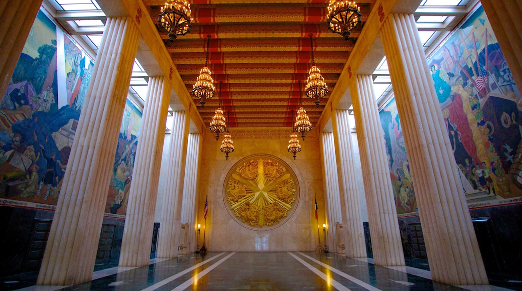 Hall of State showing a memorial and interior views