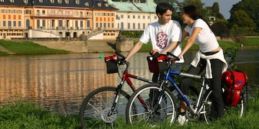 Radebeul showing a small town or village, cycling and a river or creek