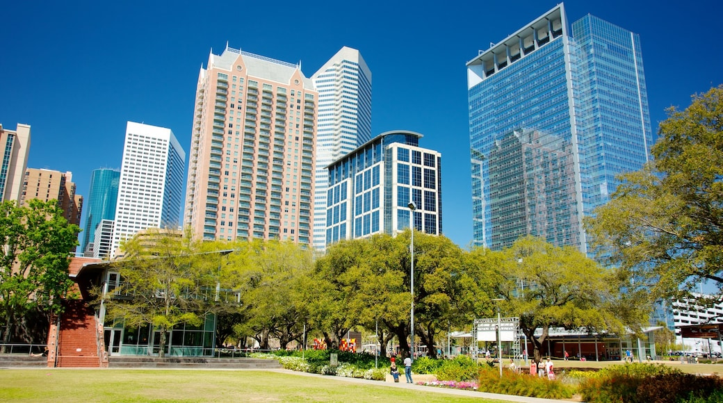 Discovery Green featuring a garden, a city and street scenes