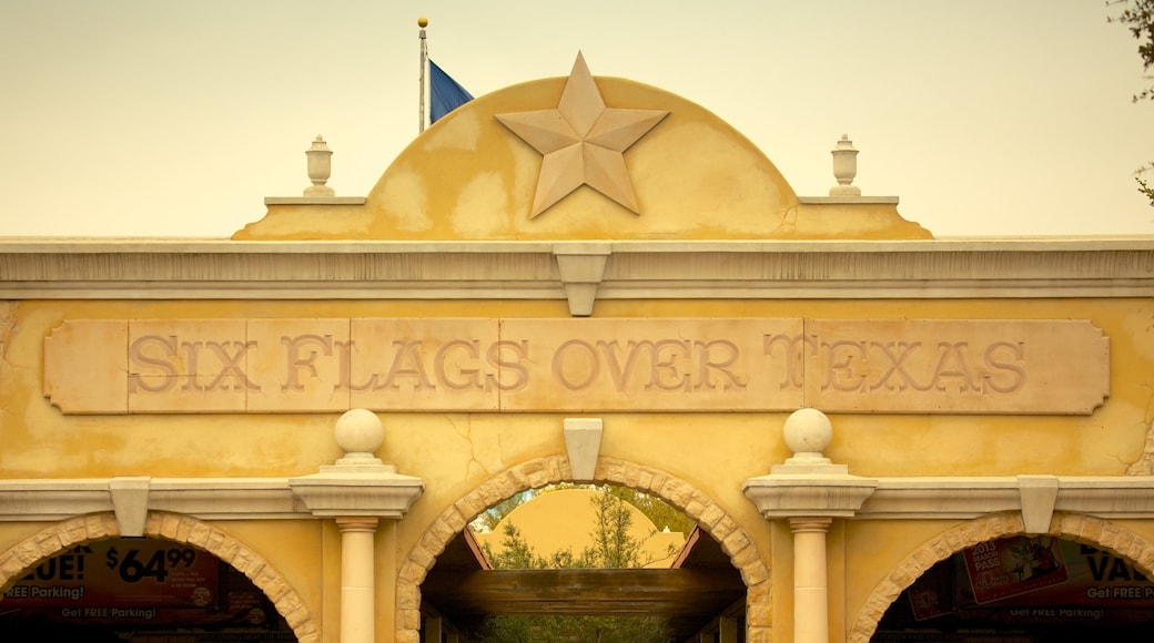 Six Flags Over Texas featuring signage