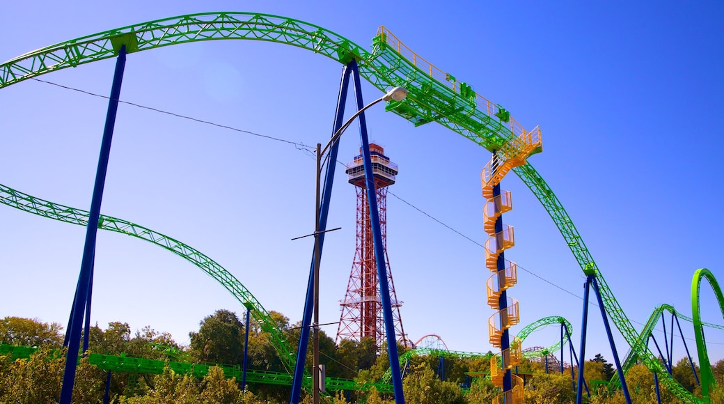 Six Flags Over Texas featuring modern architecture and rides