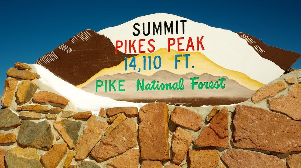 Pikes Peak showing signage