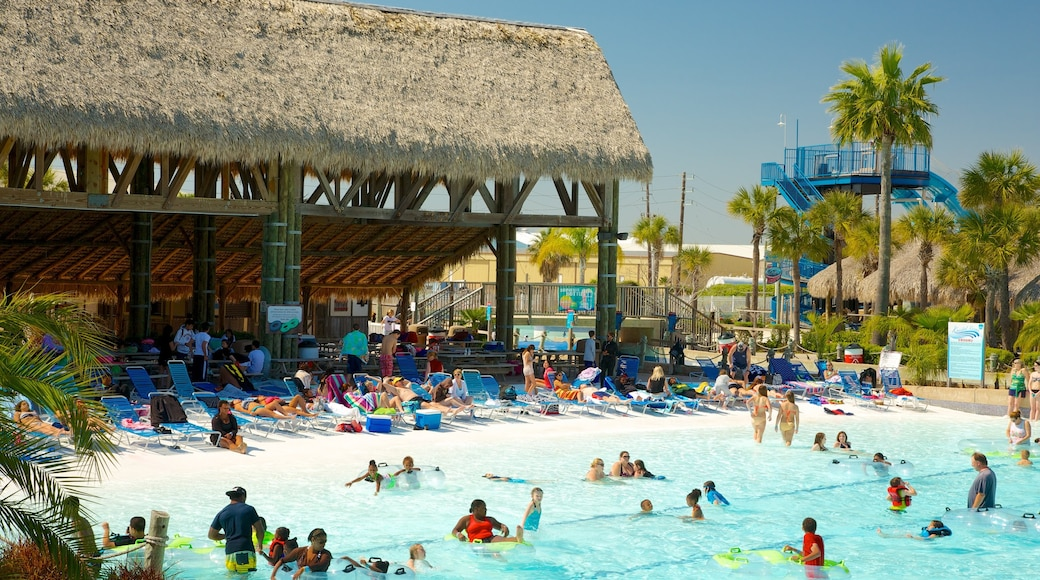 Galveston Schlitterbahn Waterpark showing swimming, a luxury hotel or resort and rides