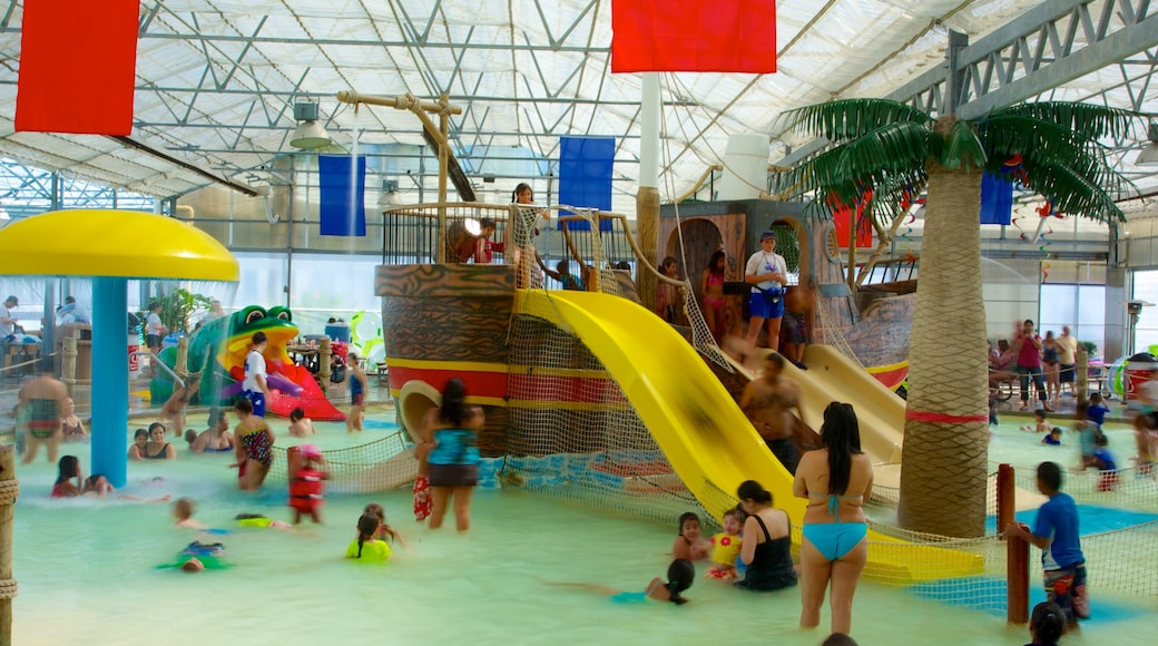 Galveston Schlitterbahn Waterpark which includes rides, interior views and a water park