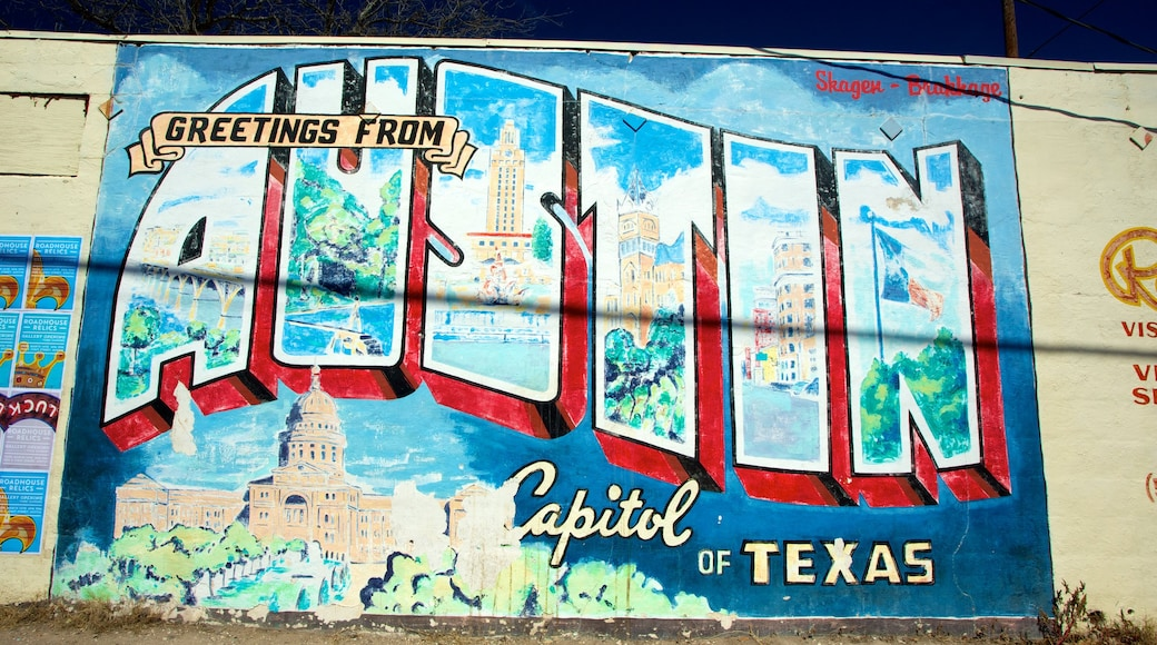 Austin which includes signage and outdoor art