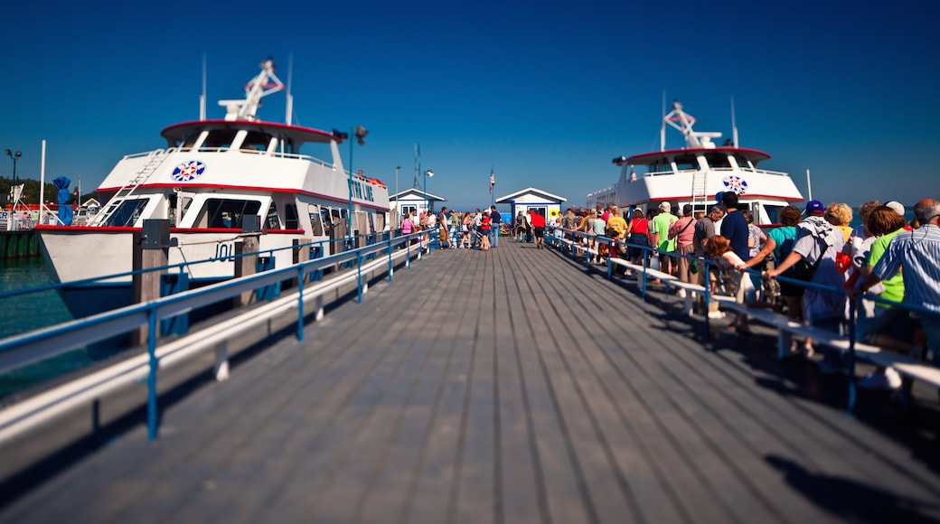 Mackinac Island showing a ferry, boating and a marina