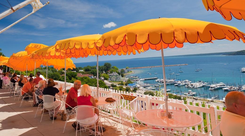 Mackinac Island showing general coastal views, outdoor eating and a marina