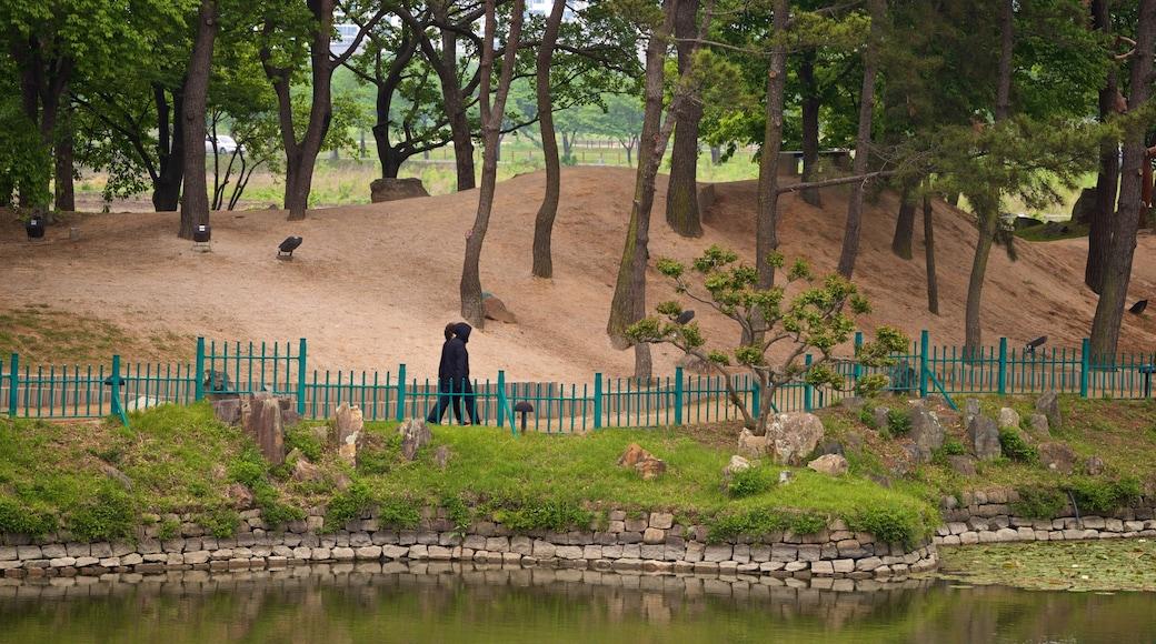 Gyeongju Donggung Palace and Wolji Pond showing a pond and a garden