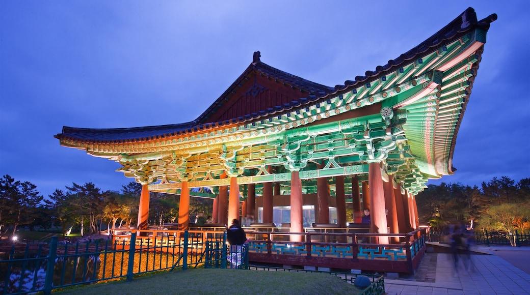 Gyeongju Donggung Palace and Wolji Pond showing night scenes and heritage elements