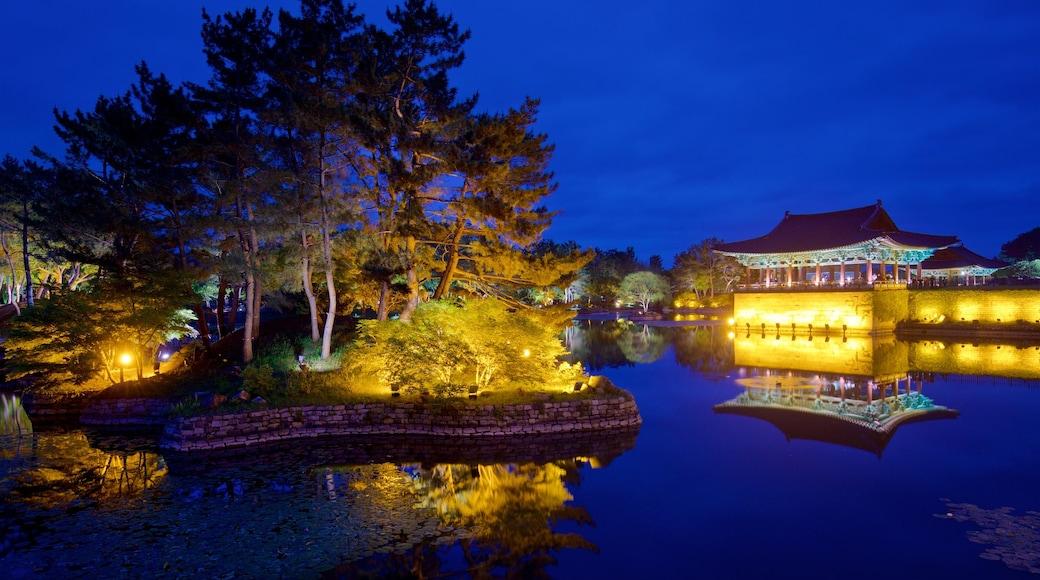 Gyeongju Donggung Palace and Wolji Pond showing a lake or waterhole and night scenes