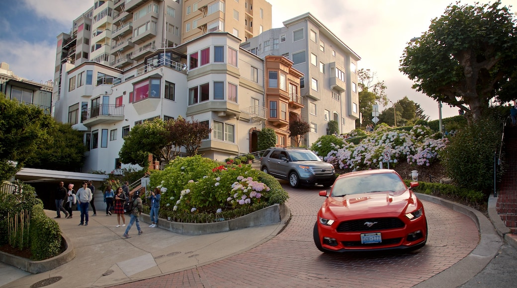 Lombard Street featuring flowers, a sunset and a house