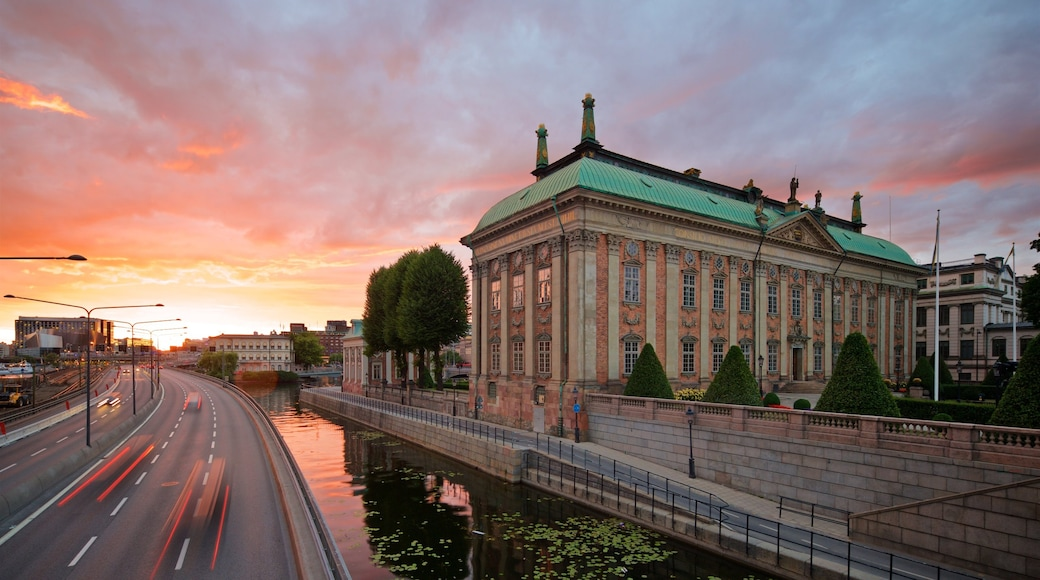 Riddarholmen featuring a city, heritage architecture and a sunset