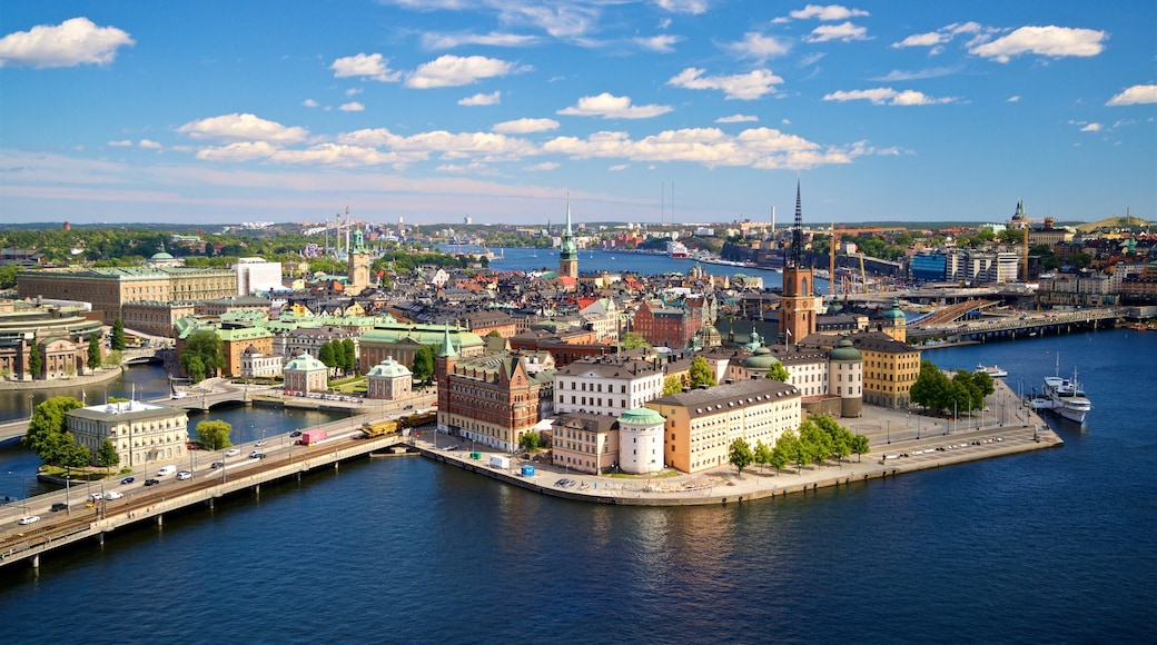 Riddarholmen which includes a river or creek, a city and landscape views