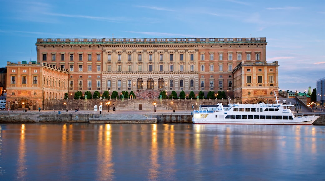 Stockholm Palace showing heritage architecture and a river or creek