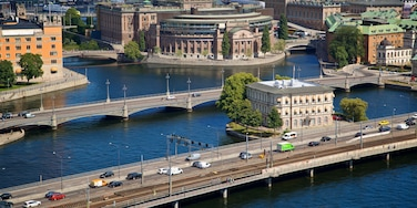 Norrmalm which includes a bridge, landscape views and a city