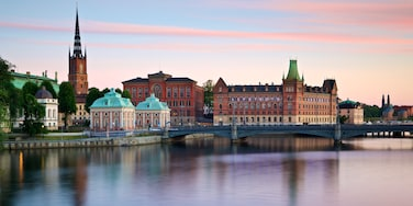 Gamla Stan featuring landscape views, a bridge and a river or creek